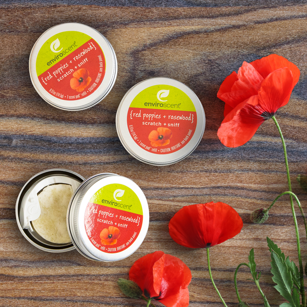 plug hub™ scent pod™ refill with red poppies and rosewood shaving scent cues