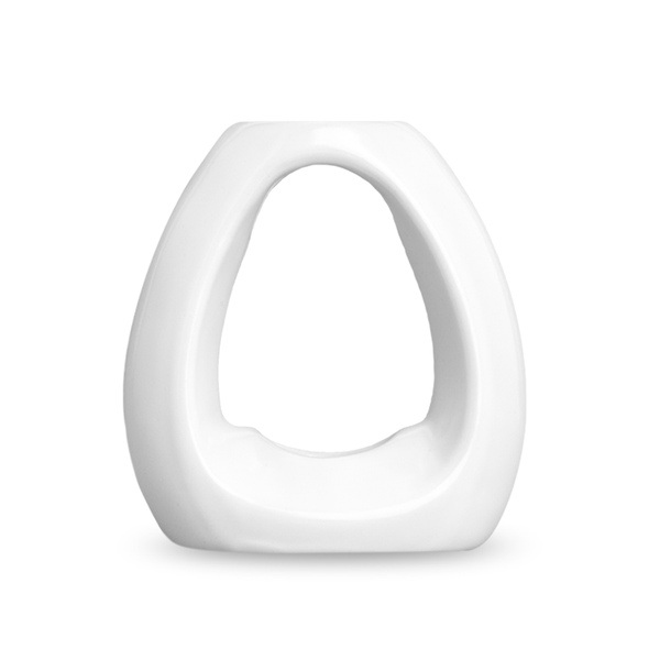 white raindrop ceramic stand straight on view