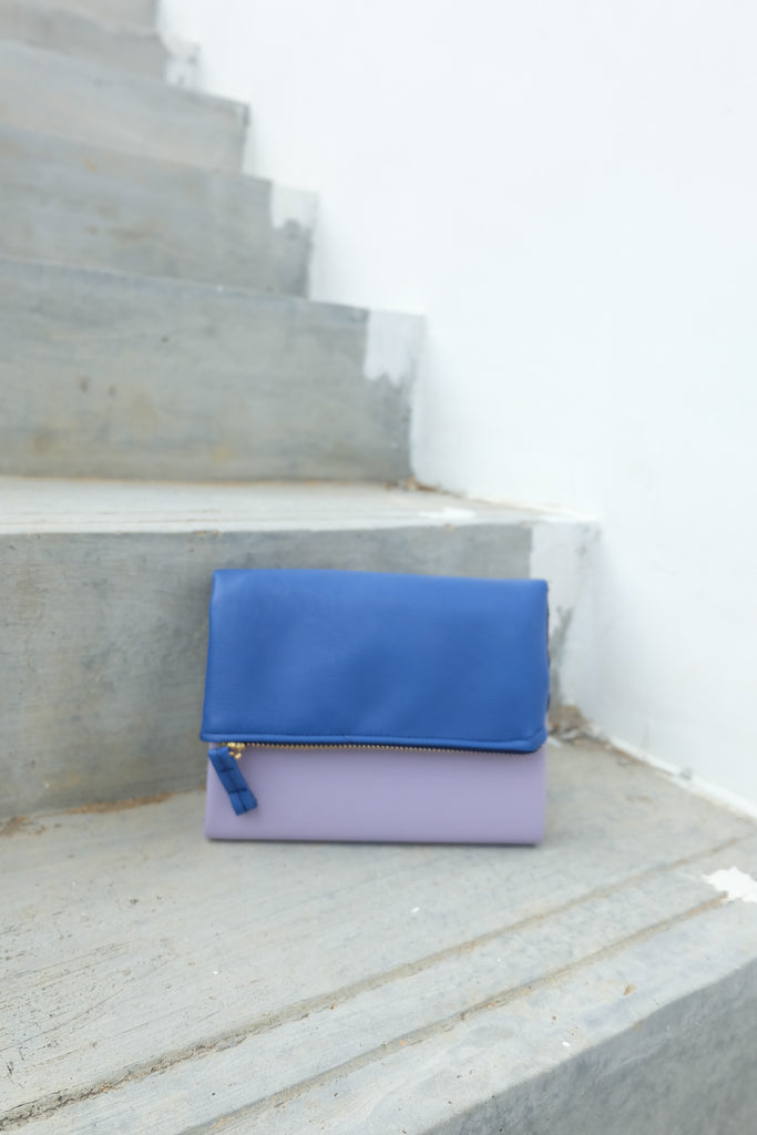 Lilac Blue Leather Pursebook