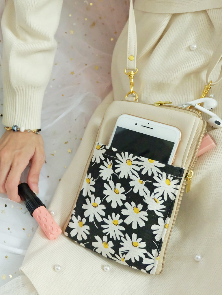 Daisy Cream Dual Zip Sling Bag