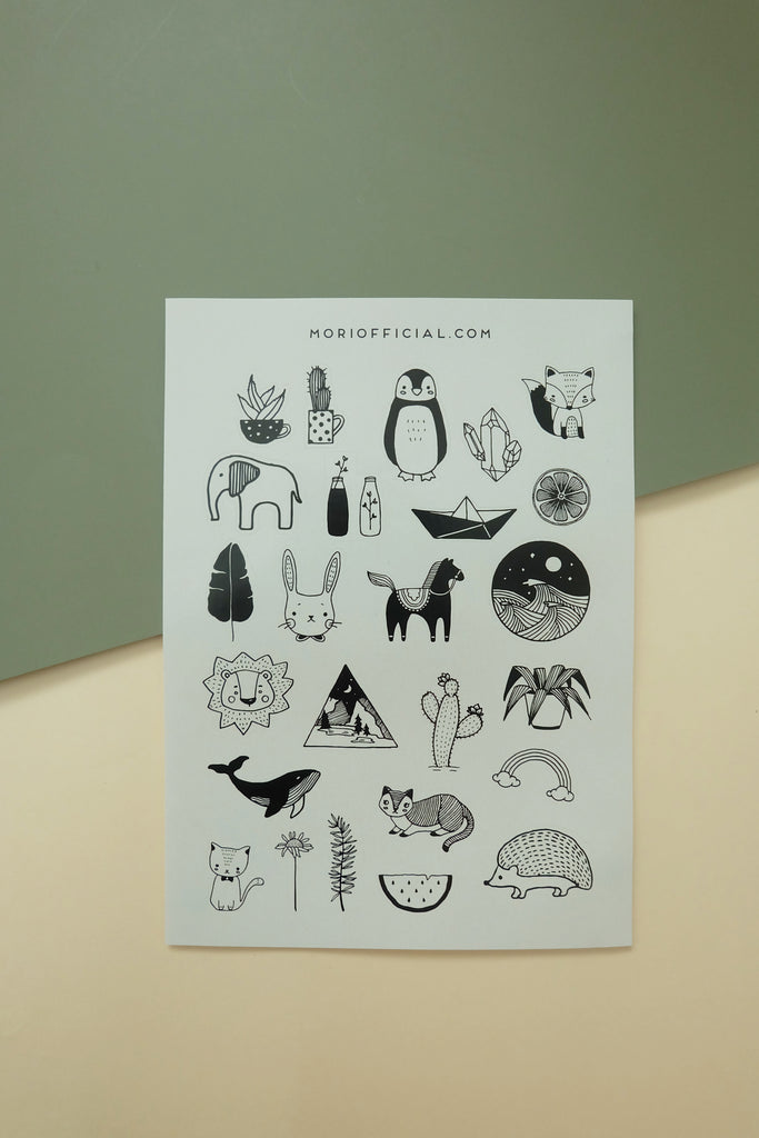 Whimsical Nature (Black and White) Stickers