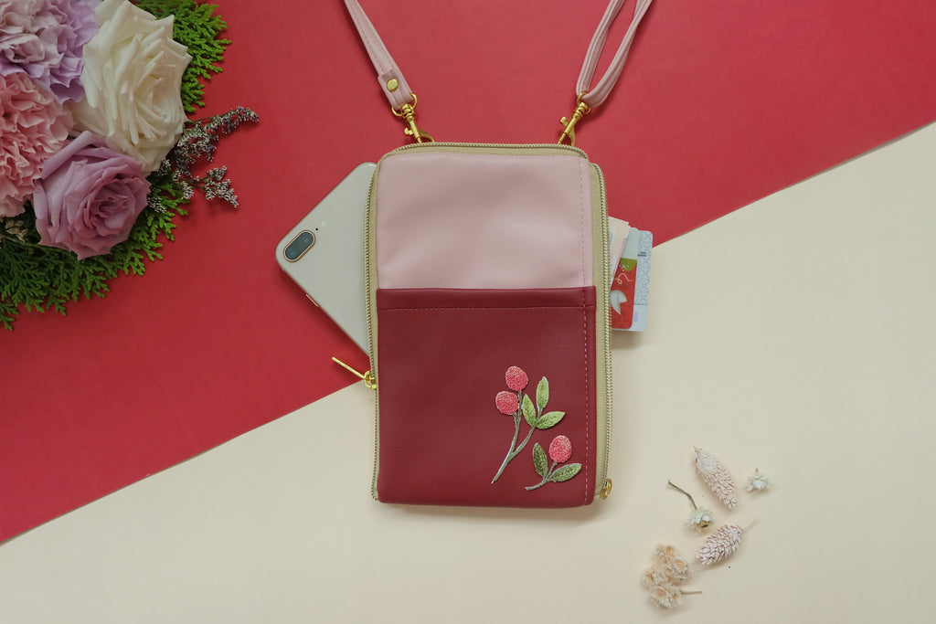 Red Pink Floral Dual Zip Sling Bag
