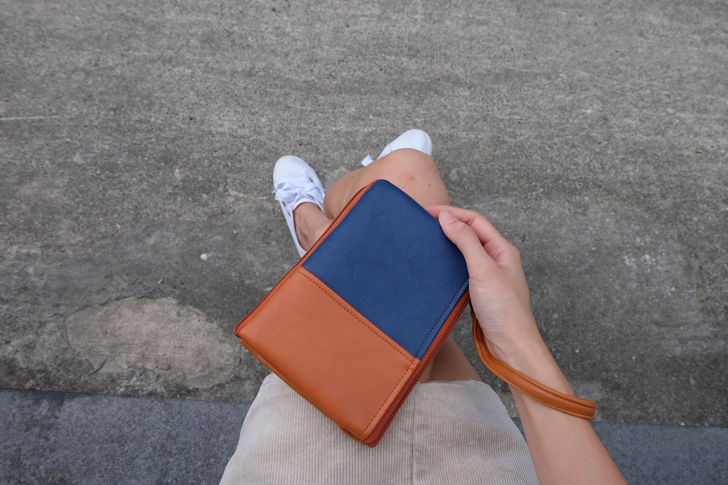Brown Navy Dual Zip Pouch
