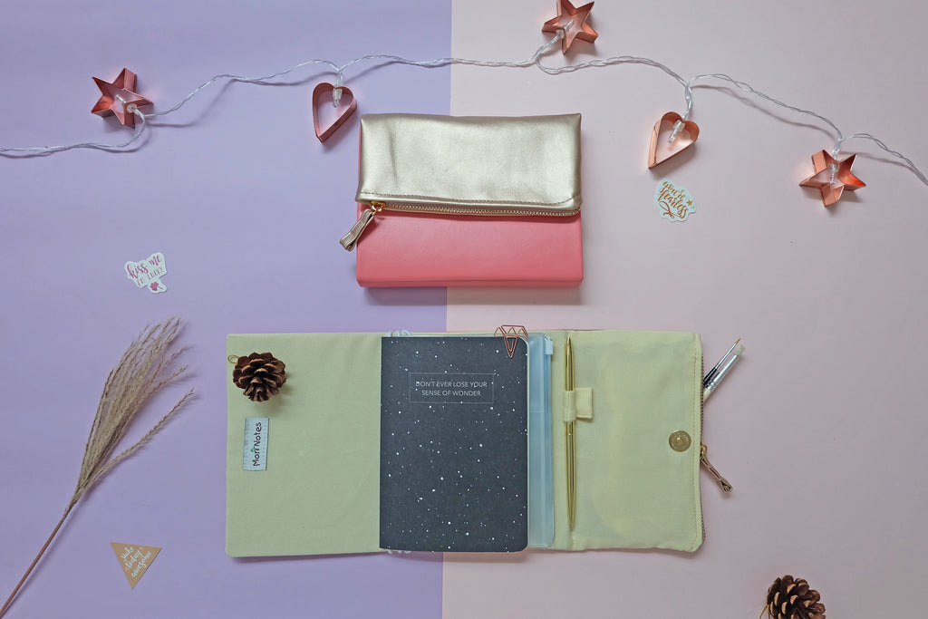 Coral Pink Gold Leather Pursebook