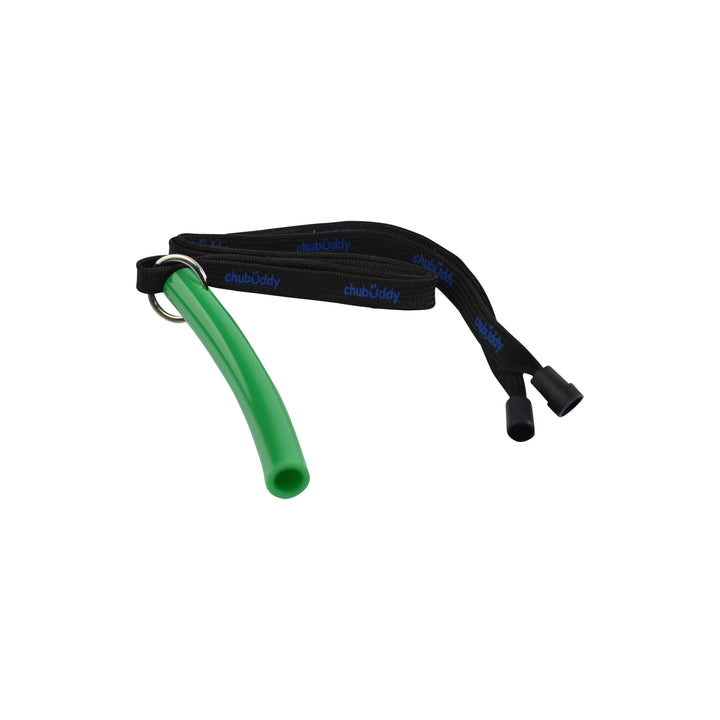"Big Strong Tube-9/16"" green on neck lanyard Strong chews Chubuddy"