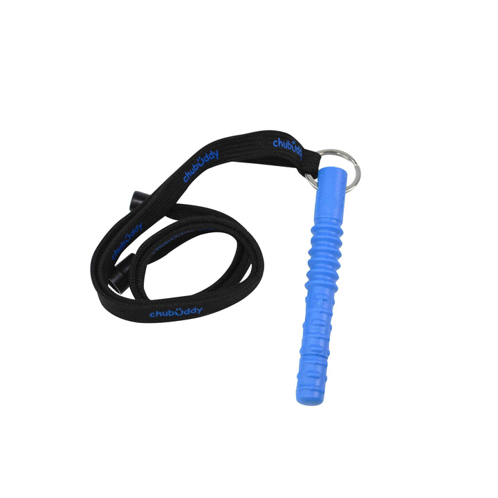 Tube Zilla, Blue On Neck Lanyard | 70A Durometer Soft | Chew Factor 3.0 Strong | For Larger Mouths Strong chews Chubuddy