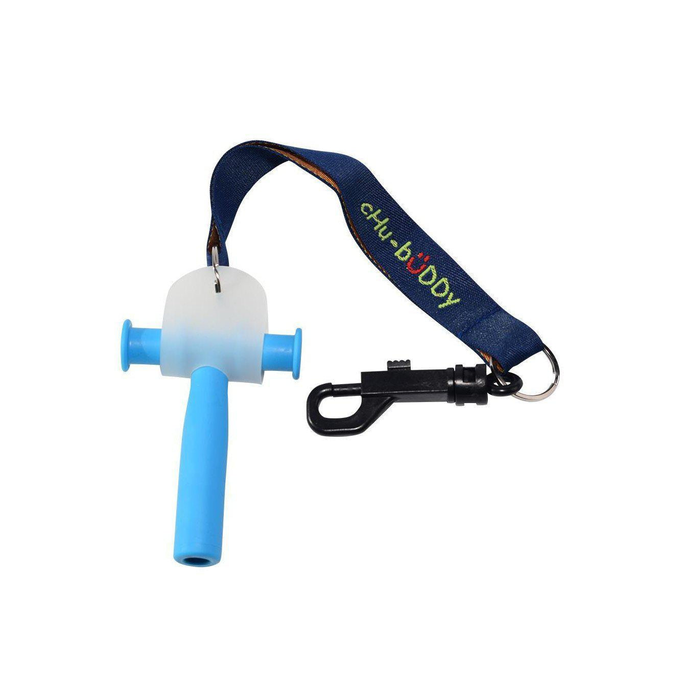 Chew Holder - navy embroidered tether-bracelet & natural strap