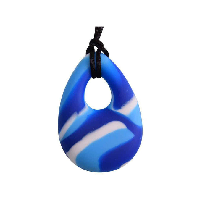 buds oval Chew Pendant With Breakaway Clasp Necklace- Blue Swirl Color