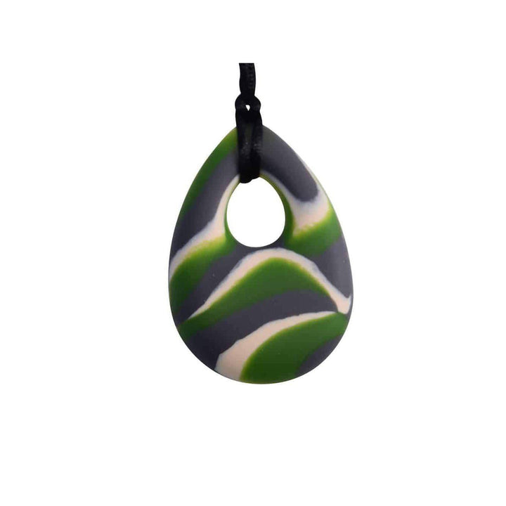 buds oval Chew Pendant With Breakaway Clasp Necklace- Green N Gray Swirl Color buds Chubuddy