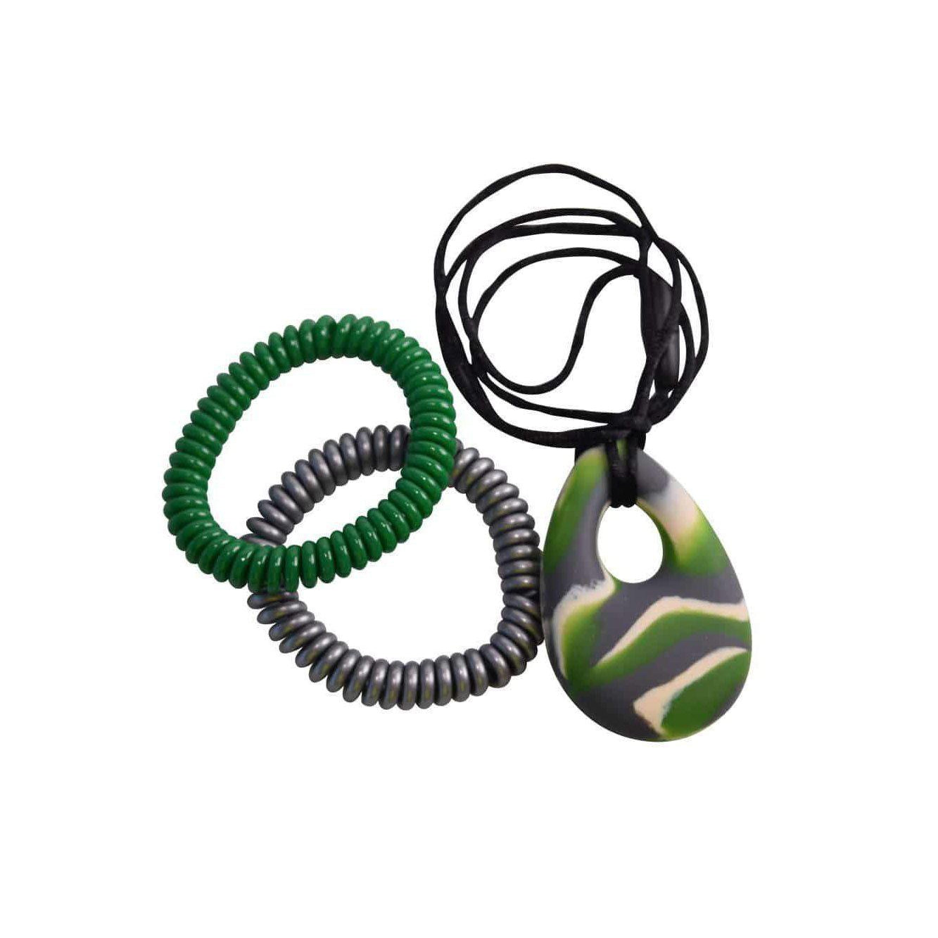 buds oval Chew Pendant With Breakaway Clasp Necklace- Green N Gray Swirl Color