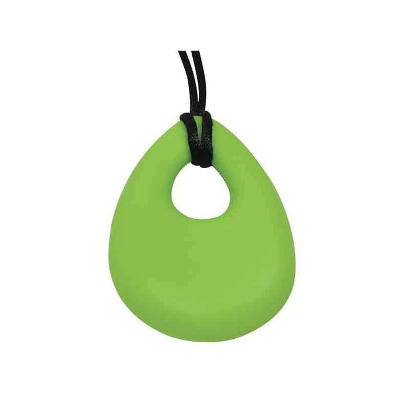 Oval Chew Pendant With Breakaway Clasp Necklace- Hot Lime Color
