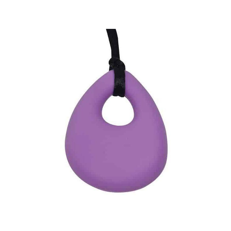 Oval Chew Pendant With Breakaway Clasp Necklace- Lilac Color