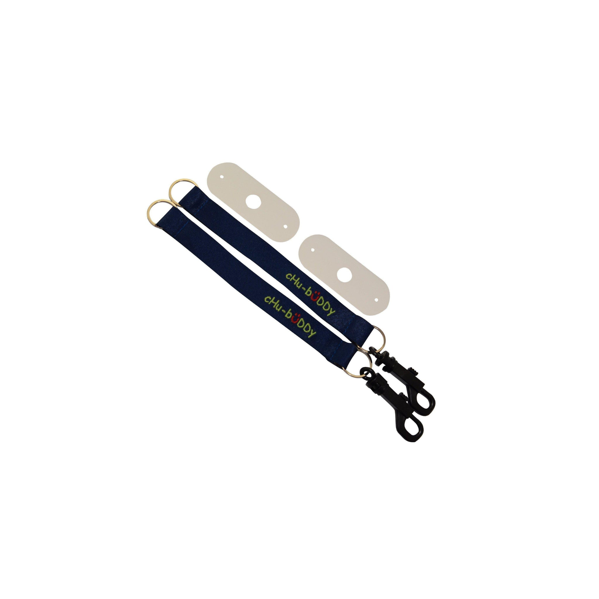 Embroidered Chew Holder Set (2), 2 embroidered navy tether-bracelets & 2 natural straps