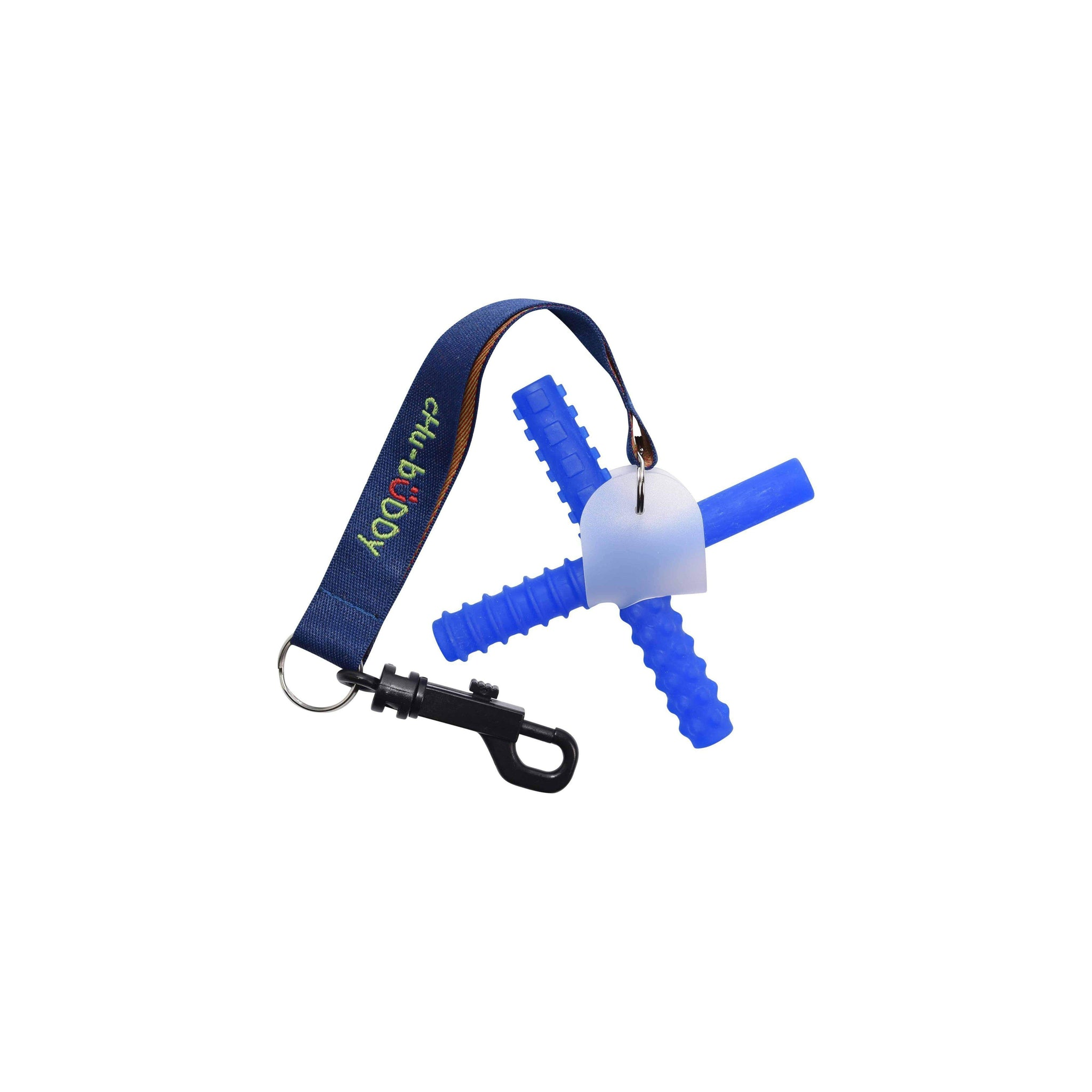 Chew Holder Embroidered Green with Blue Chew Stixx* *Reg Mark Sensory University