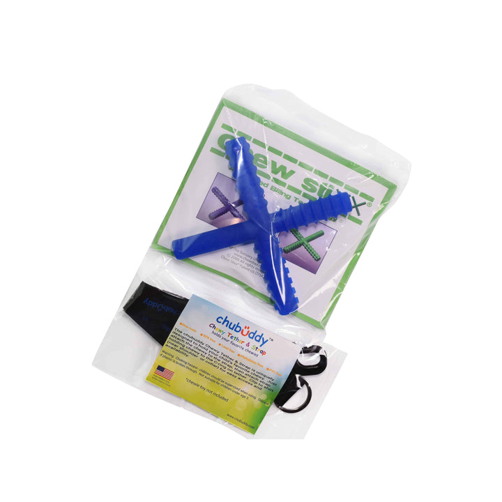 Chew Holder Black with Blue Chew Stixx* *Reg Mark Sensory University