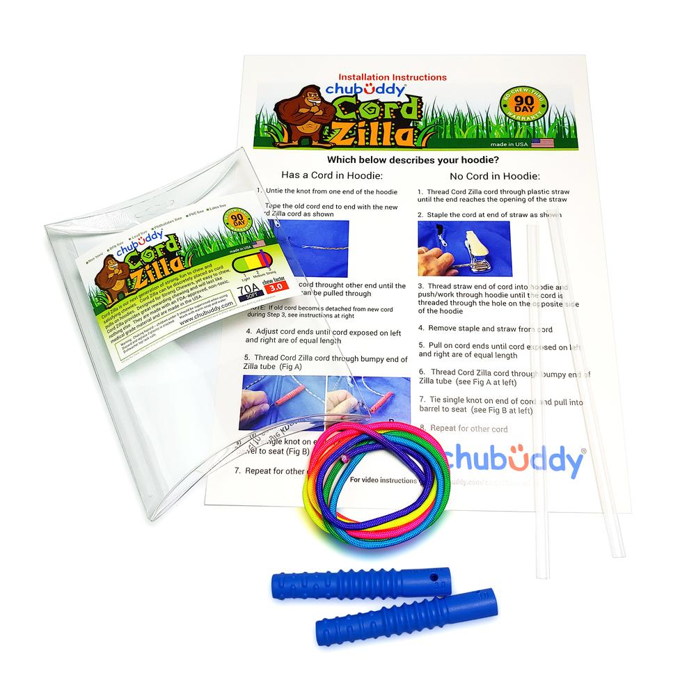 Chubuddy Blue Cord Zilla with Rainbow Cord and Install Pack| 70A Durometer Soft | Chew Factor 3.0 Strong | Attaches to Most Hoodies | Discreet