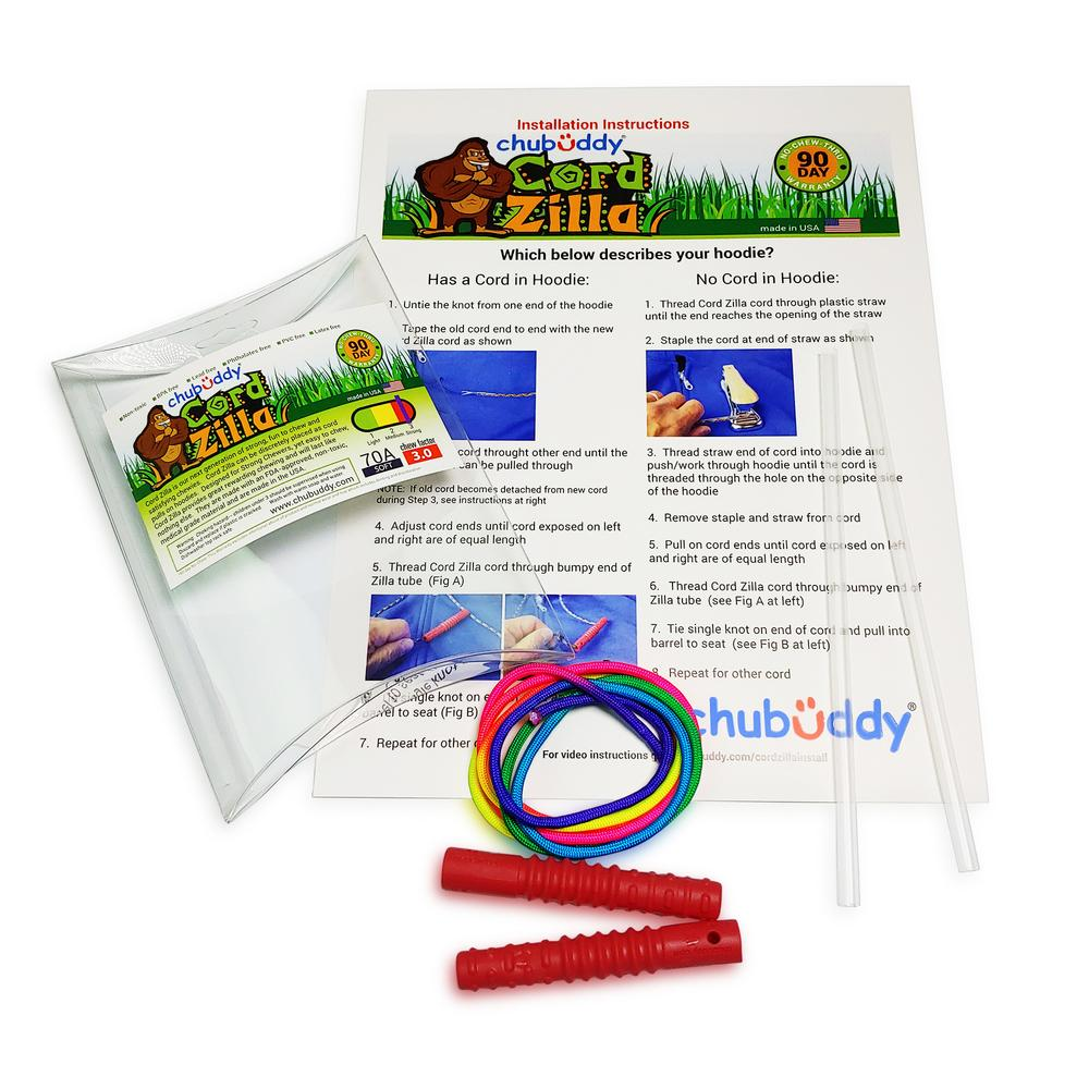 Chubuddy Red Cord Zilla with Rainbow Cord and Install Pack| 70A Durometer Soft | Chew Factor 3.0 Strong | Attaches to Most Hoodies | Discreet