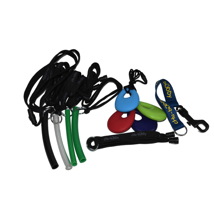 Factory Seconds chew holder clip on- random colors, shoulder or neck lanyard- Orig $6.99 to $7.99-Factory Seconds-Chubuddy, LLC