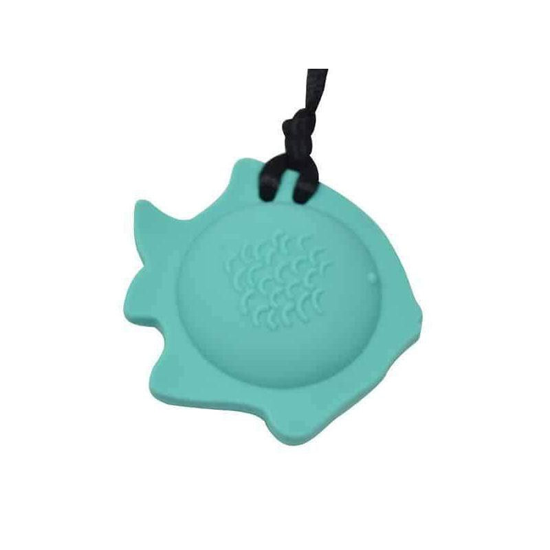 Fish Chew Pendant With Breakaway Clasp Necklace- Aqua Color