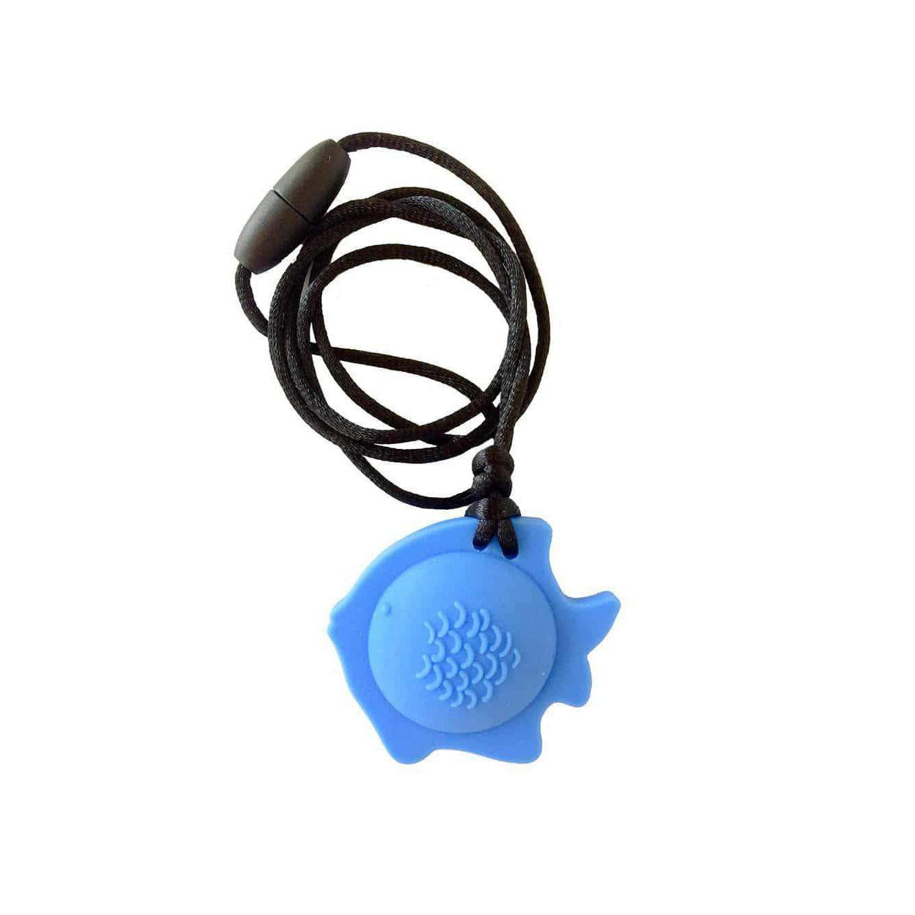 Fish Chew Pendant With Breakaway Clasp Necklace- Sky Blue Color