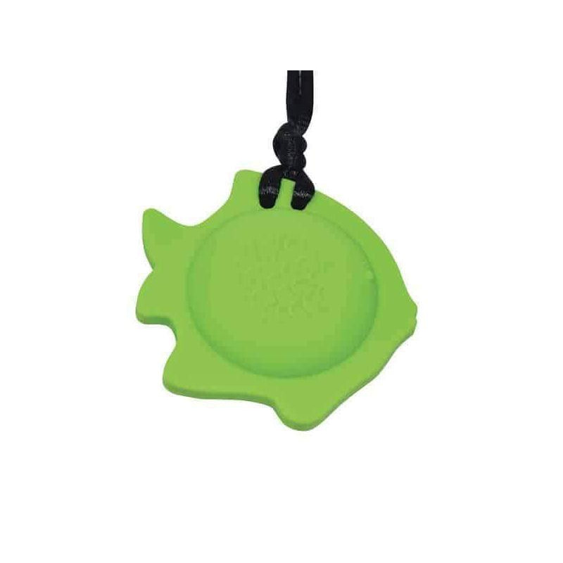 Fish Chew Pendant With Breakaway Clasp Necklace- Hot Lime Color