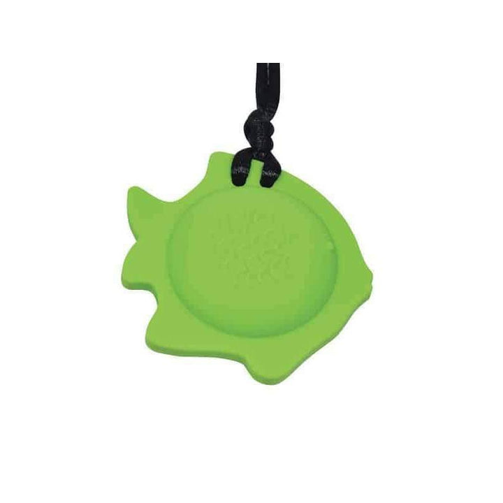 Fish Chew Pendant With Breakaway Clasp Necklace- Hot Lime Color Chews & Pendants Chubuddy