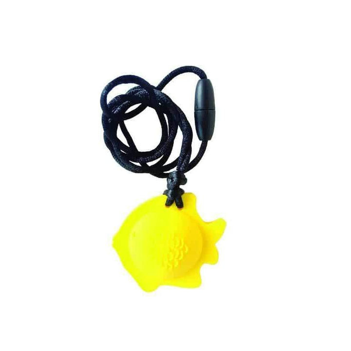 Fish Chew Pendant With Breakaway Clasp Necklace- Lemon Color Chews & Pendants Chubuddy