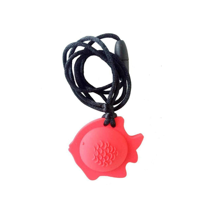Fish Chew Pendant With Breakaway Clasp Necklace- Red Color Chews & Pendants Chubuddy