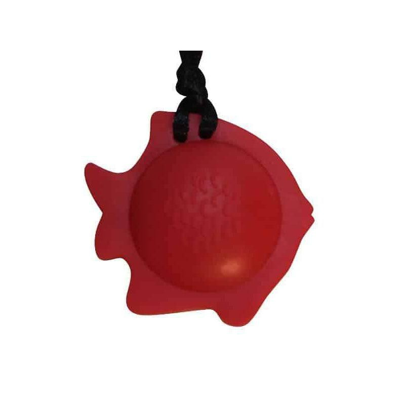 Fish Chew Pendant With Breakaway Clasp Necklace- Red Color