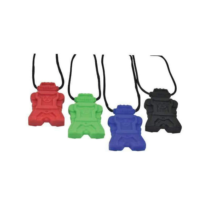 Robot Chew Pendant With Break Away Clasp Necklace- Green Color