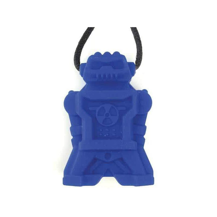 Robot Chew Pendant With Break Away Clasp Necklace- Blue Color Light Chews Chubuddy