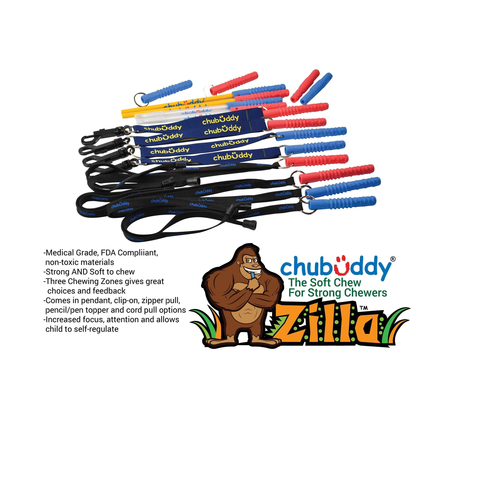 Topper Zilla, Blue, Super Strong With Pen, Black Ink | 70A Durometer Soft | Chew Factor 3.0 Strong | Keeps Pens and Pencils Free From Damage | 2 Textured Chew Zones