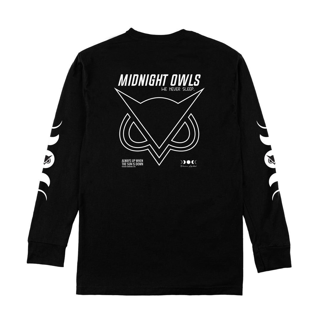VANOSS® | MIDNIGHT OWLS LONG-SLEEVE TEE (BLACK)