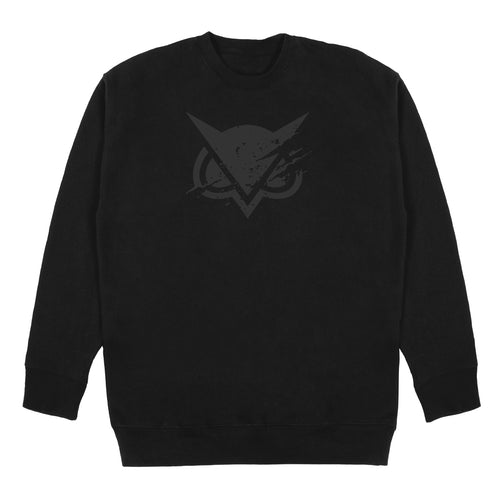VANOSS® | TONAL RIPPED LOGO CREWNECK SWEATER (BLACK)
