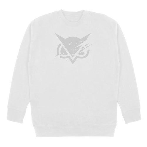VANOSS® | TONAL RIPPED LOGO CREWNECK SWEATER (WHITE)