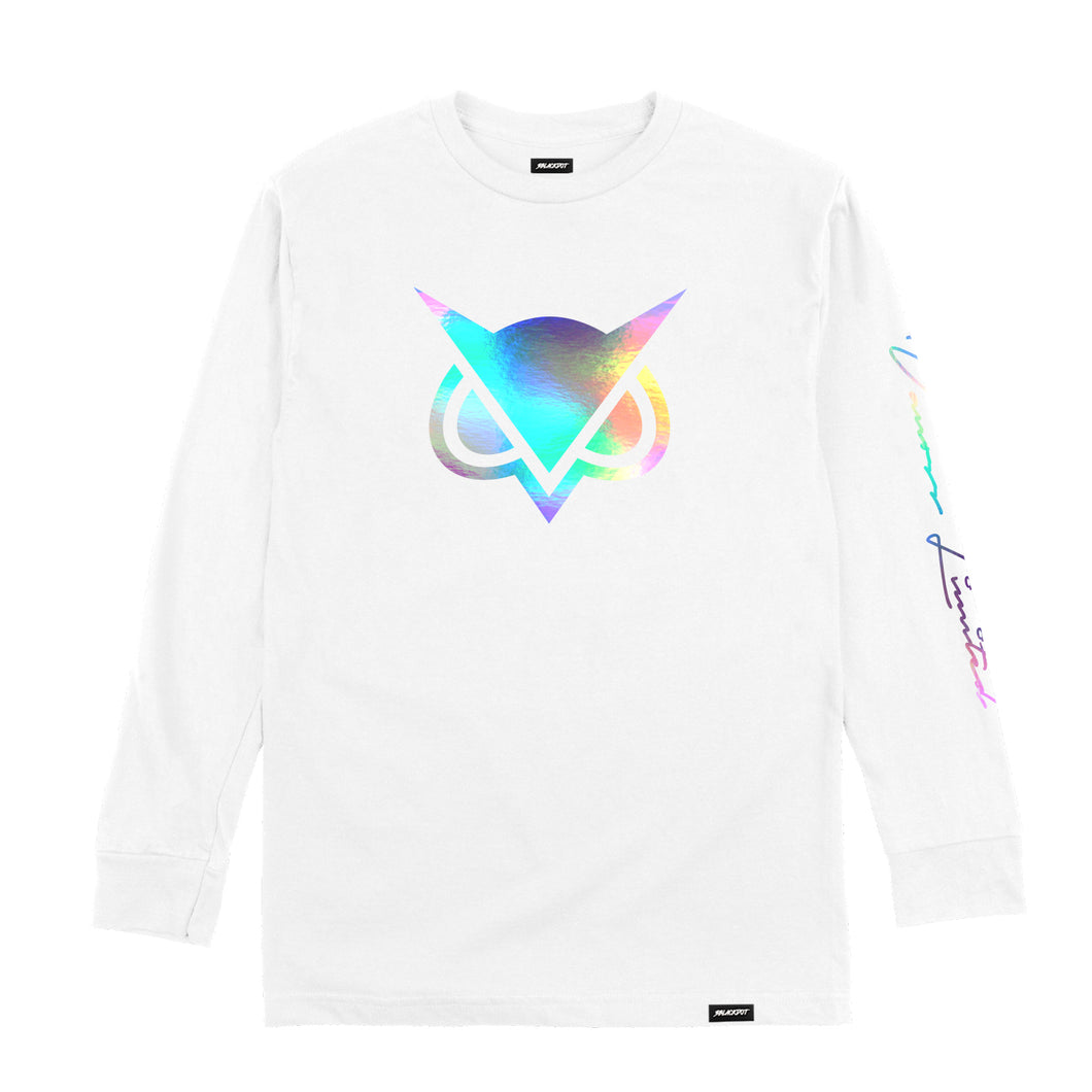 VANOSS® | HOLOGRAPHIC LOGO LONG-SLEEVE TEE (WHITE) LIMITED EDITION