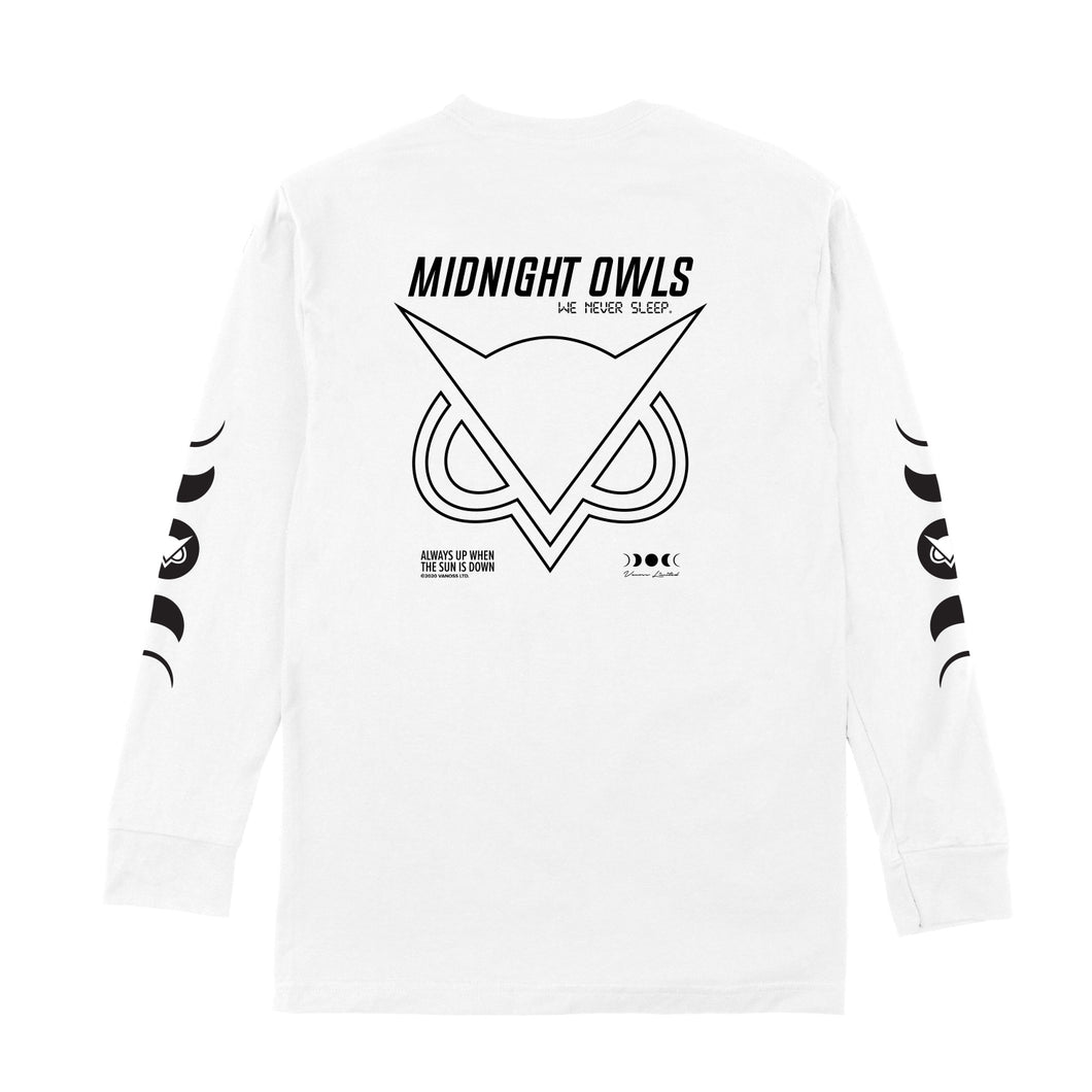 VANOSS® | MIDNIGHT OWLS LONG-SLEEVE TEE (WHITE)
