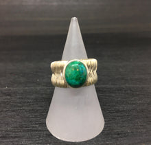 Load image into Gallery viewer, Chrysocolla Wire Wrapped Adjustable Sterling Silver Ring
