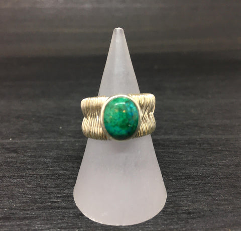 Chrysocolla Wire Wrapped Adjustable Sterling Silver Ring