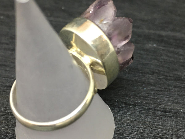 Druzy Amethyst Adjustable Sterling Silver Ring