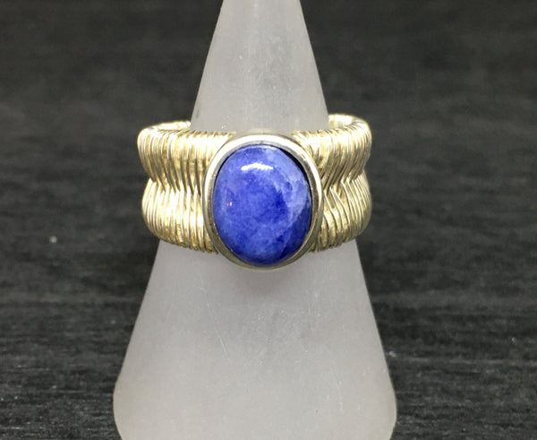 Sodalite Wire Wrapped Adjustable Sterling Silver Ring