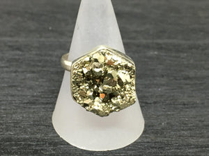 Druzy Pyrite Adjustable Sterling Silver Ring