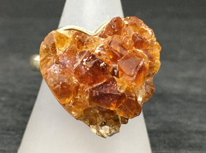 Druzy Citrine Adjustable Sterling Silver Ring