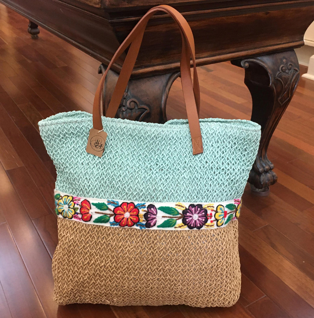 Handcrafted Embroidered Cotton Woven Jute Bag