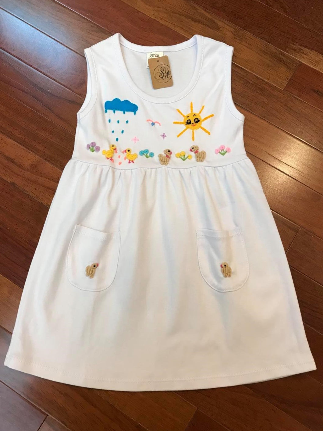 Hand Embroidered Organic Cotton Dress
