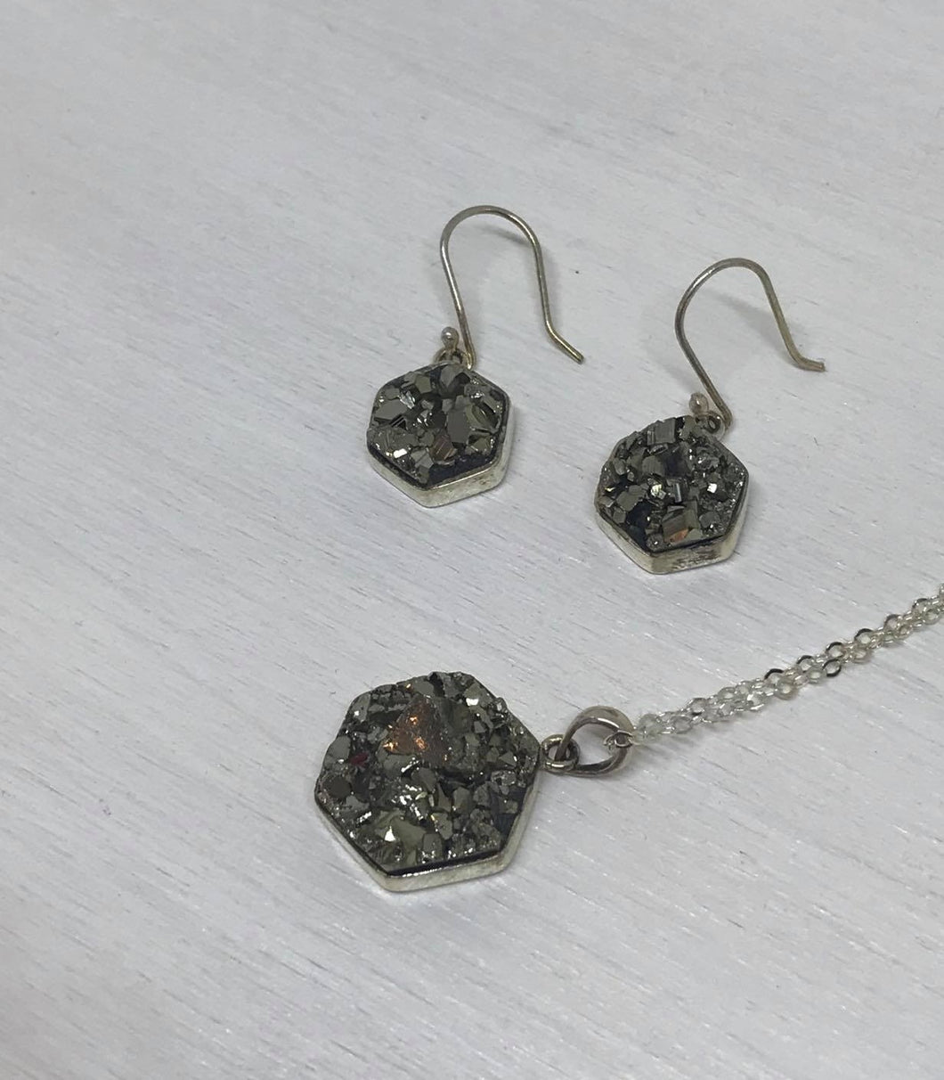 Pyrite Druzy Sterling Silver Pendant Necklace and Earring Set