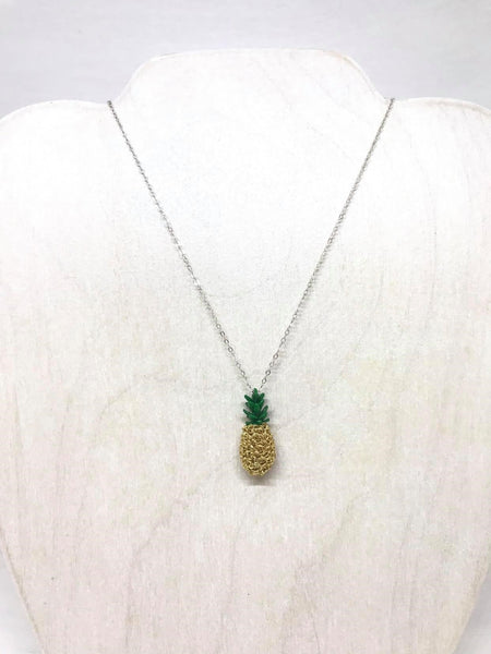 Sterling Silver Wire Crocheted Pineapple Necklace