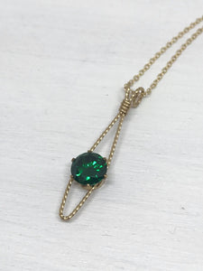 Gold-Filled Wire Wrapped Lab-Created Emerald Pendant Necklace
