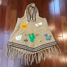 Load image into Gallery viewer, Alpaca Blend Hand Embroidered Children's Hooded Poncho