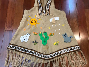Alpaca Blend Hand Embroidered Children's Hooded Poncho